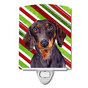 Dachshund Candy Cane Holiday Christmas Ceramic Night Light