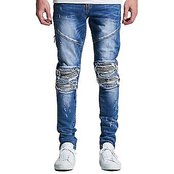 Embellish Mackenzie Ripped Denim Jeans Washed Blue
