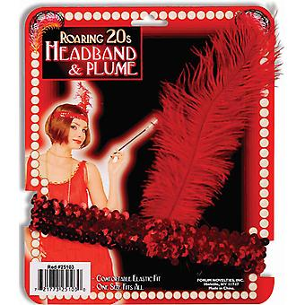 Flapper 20s Red Sequin Feathers Womens Costume Headband & Plume Headpiece