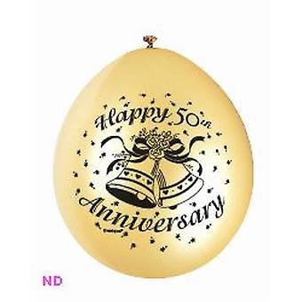"""""""HAPPY 50e verjaardag"""" 9"""" Latex ballonnen goud (10)"""