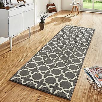Design velour carpet runners bridge Glam grey cream