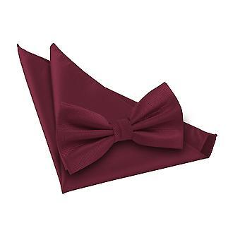 Gravata borboleta e gravata borboleta de verificação sólida da Borgonha Conjunto quadrado de bolso