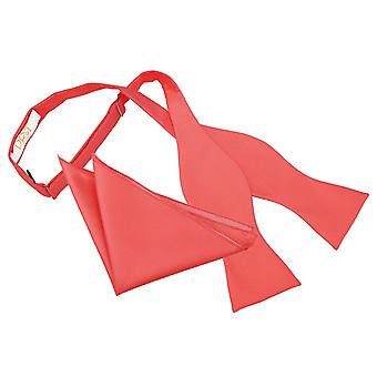 Coral Solid Check Self-Tie Bow Tie & Pocket Square Set