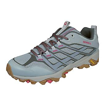 Womens Merrell Hiking Shoes Moab FST Walking Trainers - Silver and Beige
