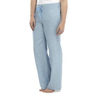 Mujer dos tonos color elástico cintura salón pantalón lino usar pantalones