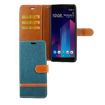 HTC U12 + Plus telefon fall skyddsfodral omslagskort fack Etuis plånbok grön