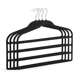 Conjunto de 4 cabides de calças antiderrapante no toque macio de veludo preto