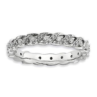 3.5mm 925 Sterling Silver Prong set Rhodium verguld Stackable Expressions Gepolijste Diamond Ring Sieraden Geschenken voor vrouwen -