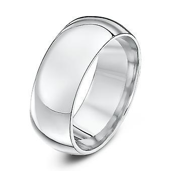 Star Wedding Rings 9ct White Gold Heavy Court Shape 8mm Wedding Ring