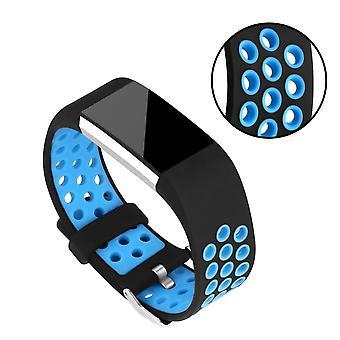 Curea de silicon pentru a Fitbit Charge 2-albastru/negru