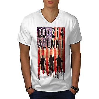 DD214 Alumni Men WhiteV-Neck T-Shirt | Wellcoda