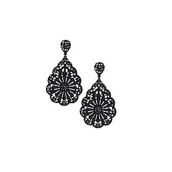 Lovemystyle Black Lace and Diamante Oversized Drop Earrings