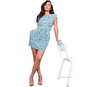 LMS blanco estructurado vestido con estampado Paisley azul turquesa