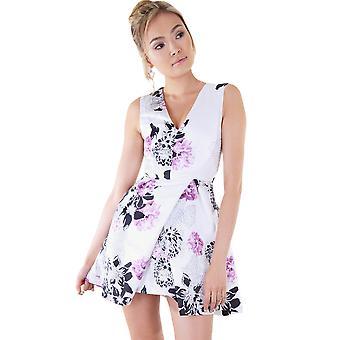 LMS Floral Mini jurk met duik hals en vak plooi rok