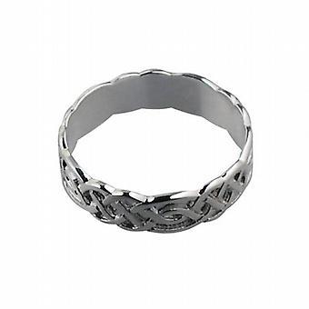 9ct White Gold 6mm Celtic Wedding Ring Size Z
