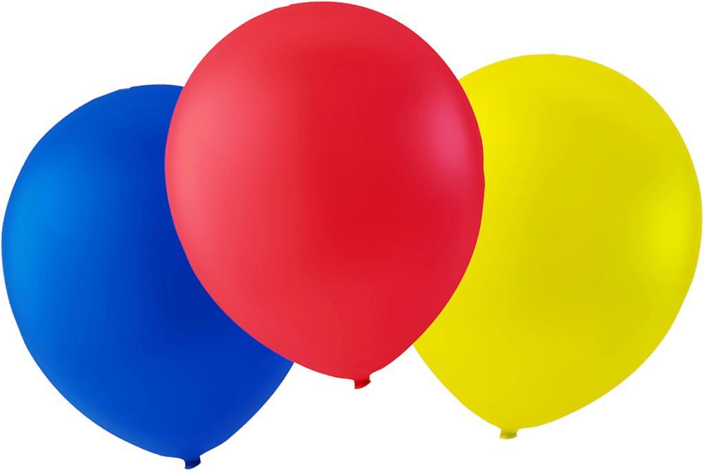 Ballonger 24-pack Blå, Röd och Gul - 30 cm (12