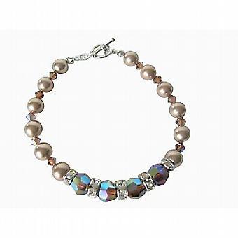 Bronze-Pearl AB 2 X geräucherte Topaz Swarovski Perle & Kristalle Armband Braut FlowerGirl Bridemaids Armband