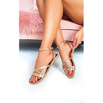 IKRUSH Womens Mags Ankle Strap Studded Sandals