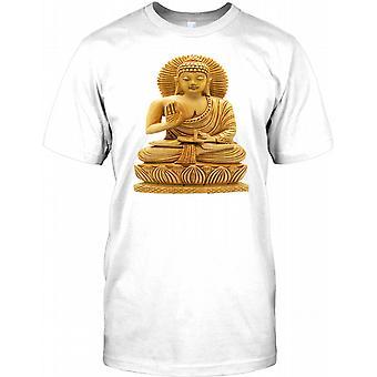Buddhastatue aus Stein - Cool Meditation Kinder T Shirt