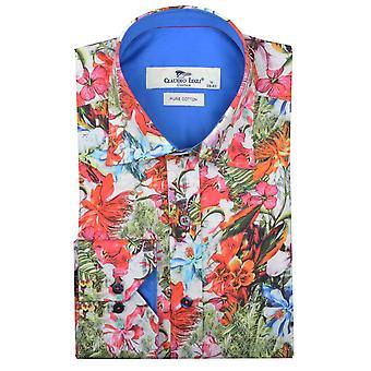 قميص رجالي طباعة الأزهار النباتية كلاوديو لوجلي الأبيض