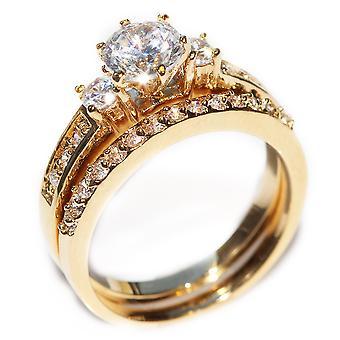 Simulated Diamond Ring Set With Matching Half Eternity Band