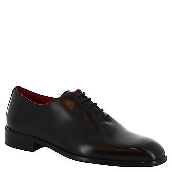 Leonardo Shoes Men's handmade square toe wholecuts in black calf leather