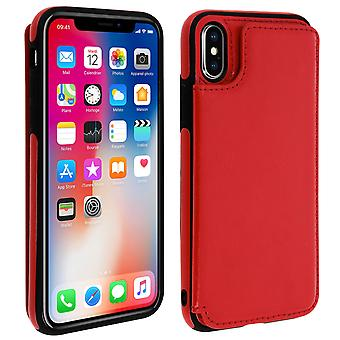 Apple iPhone X / XS Shockproof Case, Card Holder Wallet, Forcell, Red