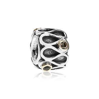 Pandora Ruffles Silver 14k Gold & Smoky Quartz Charm 790366SQ