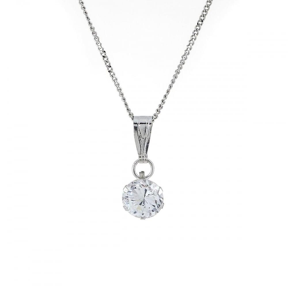 Eternity 9ct White Gold Small Round Cubic Zirconia Pendant And 18'' Curb Chain