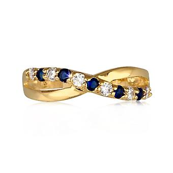 Twisted Gold Plated Ring With Synthetic Sapphire And Zirconia Cubic