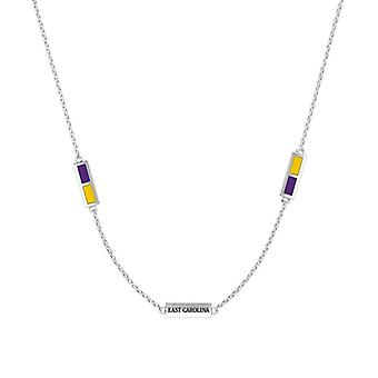 East Carolina University Sterling Silver Engraved Triple Station In Purple and Yellow
