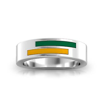 George Mason University Sterling Silver Asymmetric Enamel Ring In Green and Yellow