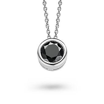PENDANT WITH CHAIN 925 SILVER BLACK ZIRCONIUM