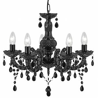 5 Light Multi Arm Ceiling Pendant Black With Crystals