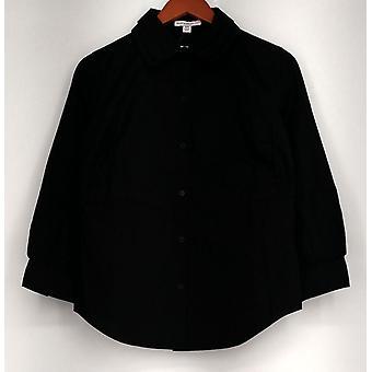 Isaac Mizrahi Live! Top XXS Tiered Collar Long Sleeve Shirt Black New A204031