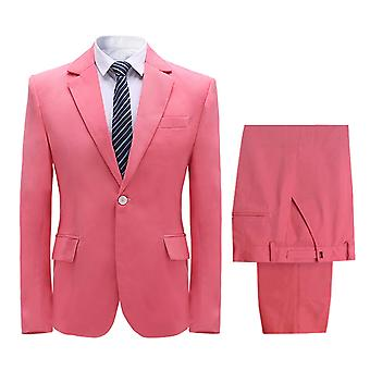 Allthemen Men's Traje 2 piezas Solid Banquet Party Casual Blazer&Pants