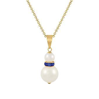 Eternal Collection Alpine Sapphire blå Østerrikske krystall hvite skallet perle gull tone anheng