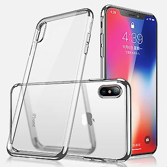Electroplated TPU shell iPhone X/Xs with 2 screen protectors.