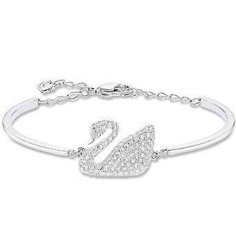 Swarovski Swan rigid bracelet - white - rhodio plating