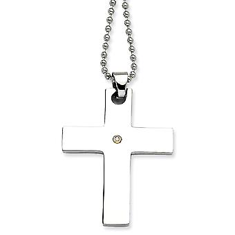 Stainless Steel Polished Engravable Fancy Lobster Closure 14k Gold With Diamond Religious Faith Cross Pendant Necklace 2