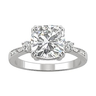 14K Gold Moissanite by Charles & Colvard 8mm Cushion Engagement Ring, 2.54cttw DEW