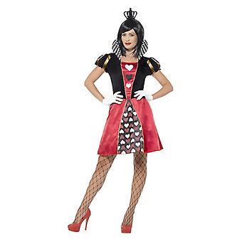 Women's Carded Queen of Hearts fancy dress kostuum