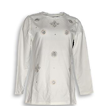 Susan Graver Women's Top Weekend French Terry Embellished White A344638