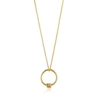 Ania Haie Sterling Silver Shiny Gold Plated Modern Circle Necklace N002-01G