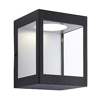 Endon Dean LED Utomhusvägg ljus matt svart & klarglas 90413