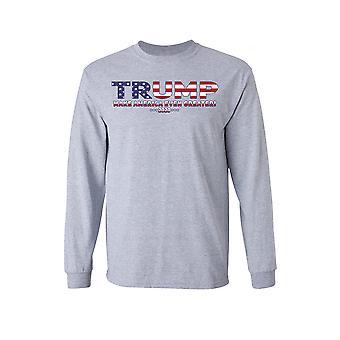 F1714EZ.1718 - Unissex Trump EUA Tornar a América ainda maior camisa de manga comprida