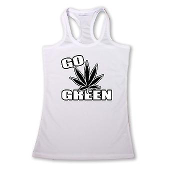 Kvinders sjove gå grøn marihuana Pot Weed Racer tilbage tanktop