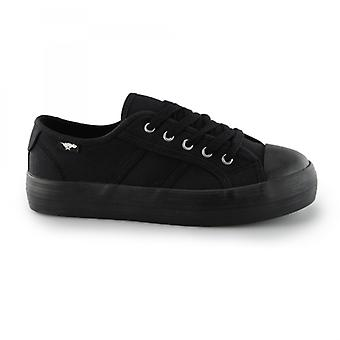 Rocket Dog Magic Ladies Canvas Lace Up Platform Trainers Black