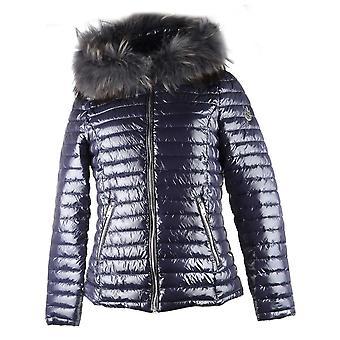 Oakwood Jolia Petrol 'navy' Nylon Fur Trim Jacket