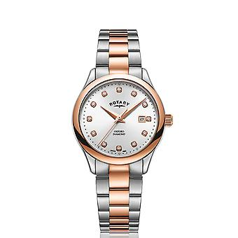 Rotary Oxford Quartz Two Tone Stainless Steel White Dial Ladies Watch LB05094/70/D